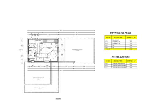 Etage d'un T4 en R+2 avec piscine et terrasse - Talence 194.96 m² - Plan 2D