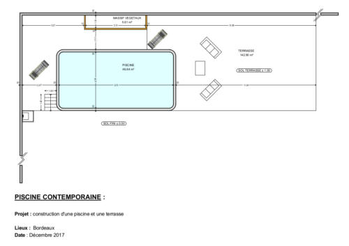 Piscine style contemporaine - Bordeaux - Plan 2D