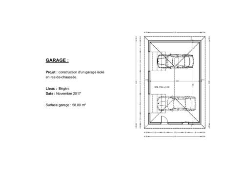 Double garage - Bègles 58.80 m² - Plan 2D