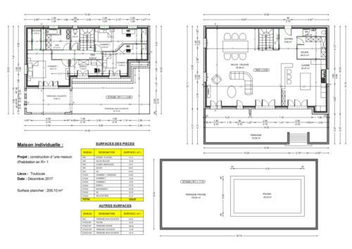 T4 en R+2 - Toulouse 208.10 m² - Plan 2D