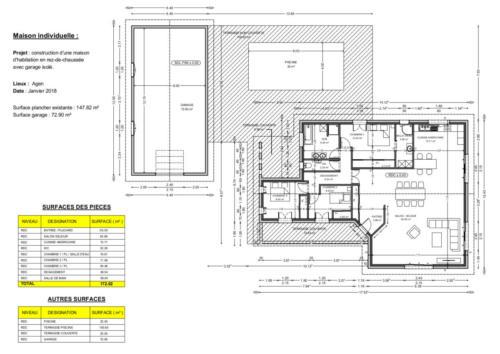 T4 en RDC avec garage - Agen 147.82 m² - Plan 2D