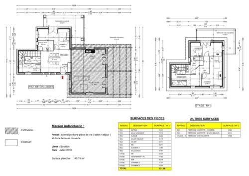 T4 en RDC - extension pièce de vie - Souston 140.78 m² - Plan 2D