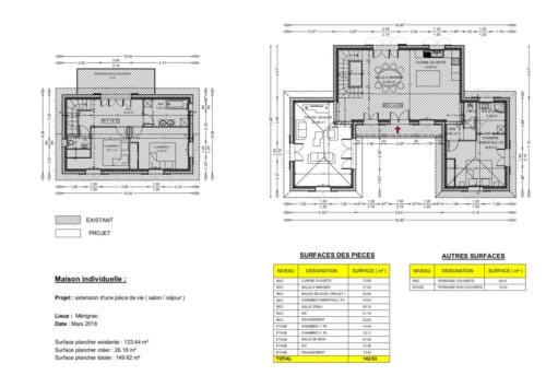 T4 en RDC - extension pièce de vie - Mérignac 149.62 m² - Plan 2D