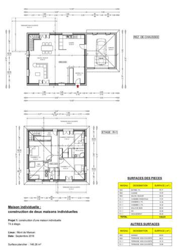 Double T4 en R+1 - Mont de Marsan 146.26 m² - PLAN 2D