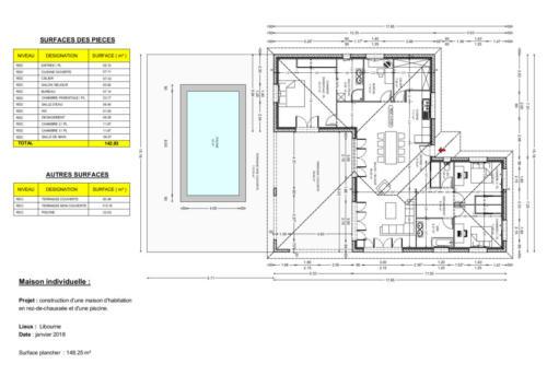 T4 en RDC - Libourne 148.25 m² - Plan 2D