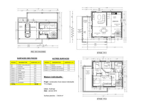 T4 en R+2 - Audenge 134.64 m² - Plan 2D
