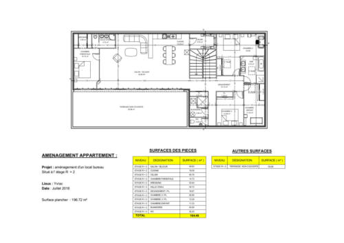Aménagement d'un local bureau en appartement - Yvrac 196.72 m² - Plan 2D