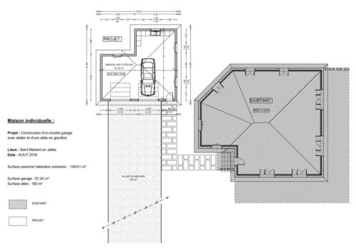 Double garage - Saint Médart en Jalles 57.24 m² - Plan 2D