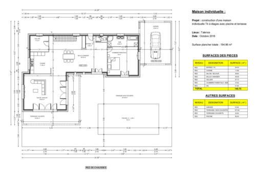 RDC d'un T4 en R+2 avec piscine et terrasse - Talence 194.96 m² - Plan 2D