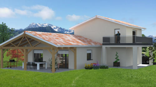 T4 en RDC - extension pièce de vie - Souston 140.78 m² - Rendu 3D