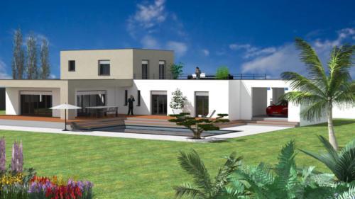 T4 en R+2 avec piscine et terrasse - Talence 194.96 m² - Rendu 3D