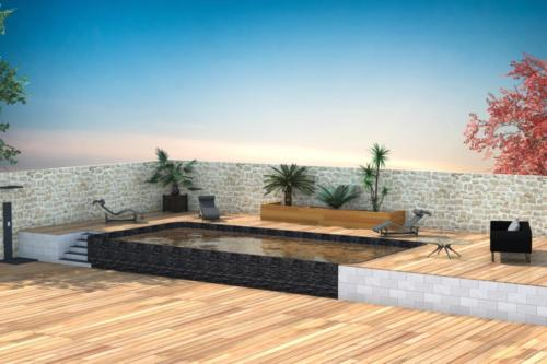 Piscine style contemporaine - Bordeaux - Rendu 3D